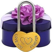 Heart-Shaped Locks with Gift Box Engraving Love You Forever Lock Marriage Wedding Padlock No Key for Travel Paris Bridge