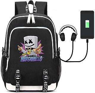 LLYDIANMochila Junior para Niños 3D 32 litros Mochila for portátil, Marshmallow Banda de Sonido Envolvente con Carga USB/Auriculares Puerto de DJ Marshmello al Aire Libre del morral del Recorrido, d