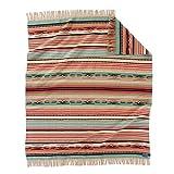 Pendleton Chimayo Fringed Jacquard Wool Throw Blanket - Coral