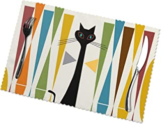 Mid-Century Modern Art Catprinted Placemats Set of 6 for Dining Table Washable Placemat Non-Slip Heat Resistant Kitchen Ta...