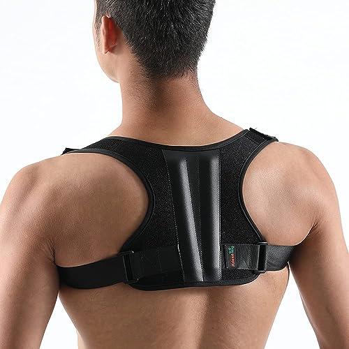 Grin Health Unisex Back Support Posture Corrector Brace for Shoulder Neck Back Pain Relief M Fits Chest Size 34 40