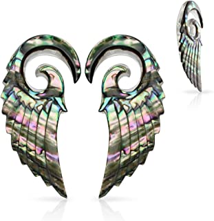 Lobal Domination PAIR of Organic Abalone Angel Wing Tapers - Plugs Expanders - Body Jewelry