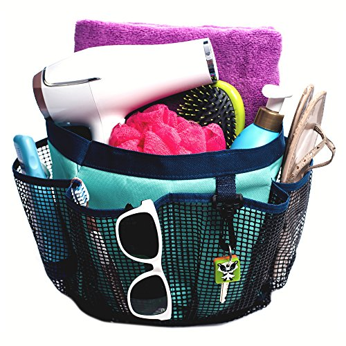 Price comparison product image Fancii Portable Mesh Shower Caddy Tote with 7 Storage Pockets and Key Hook - Quick Dry Hanging Bath & Toiletry Organiser for College Dorm,  Travel,  Gym and Camping
