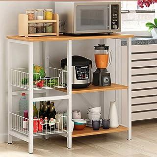 Rangement Cuisine Organisateur étagère Utilitaire étagère de rangement Cuisine Baker Rack 3 niveaux + 3 niveaux avec 2 She...