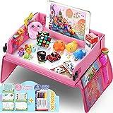 lenbest Kinder Reisetisch Kindersitz Spiel, Lernspielzeug für den Innenbereich mit 1 Transparenter Zeichnungsfilm + 5 Zeichenpapier + 6 Farbstifte - Zeichenbrett Geschenk für zu Hause, Reise(Rosa)