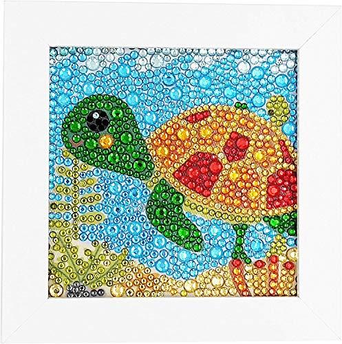 5D Pintura de Diamantes con Marco de Madera para niños – Diamond painting kit completo para principiantes – Cuadros diamantes para niños y niñas (Tortuga)