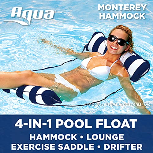 Aqua 4-in-1 Monterey Pool Hammock & Float, 50% Thicker, Patented Non-Stick PVC, Multi-Purpose Water Hammock (Saddle, Chair, Hammock, Drifter) Pool Chair for Adults - Navy