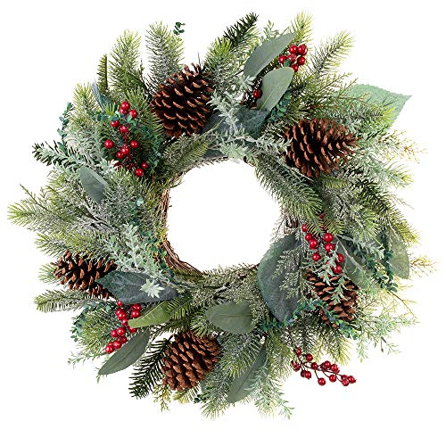 [24 Inch Artificial Christmas Wreath] - Winter Frost Collection - Natural Decoration consisting of Pinecones, Red Berries, Frosted Foliage, and Miscellaneous Greenery