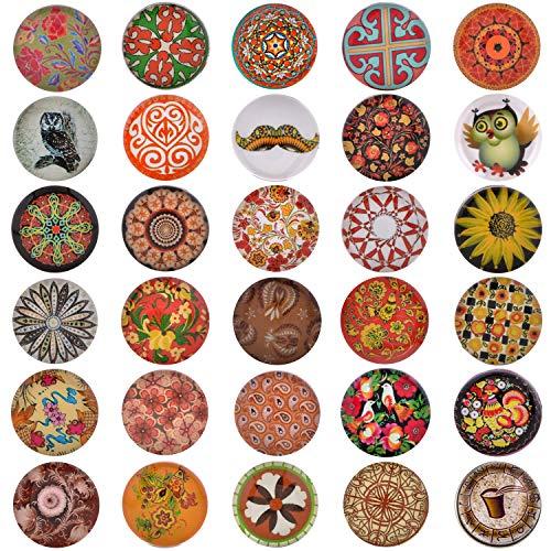 Morella 30 Click-Button Set Knöpfe 18 mm für Halskette Armband und Ring bunter Retro Blumen-Mix
