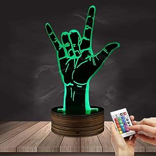 ZCLD Rock Hand Sign LED Light 3D ilusión óptica Light Novelty Lámpara de Mesa Heavy Metal Rock Music Fans LED Night Light para Bar Rocker Mejor Regalo Juguetes