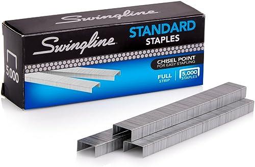 Swingline Staples, Standard, 1/4 inches Length, 210/Strip, 5000/Box, 1 Box (35108)