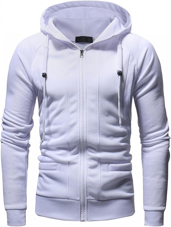 Men's Hooded Coats Solid Long Sleeve Full Zipper Hoodies Outwears Slim Fit Running Jogging Sport Jacket Tops