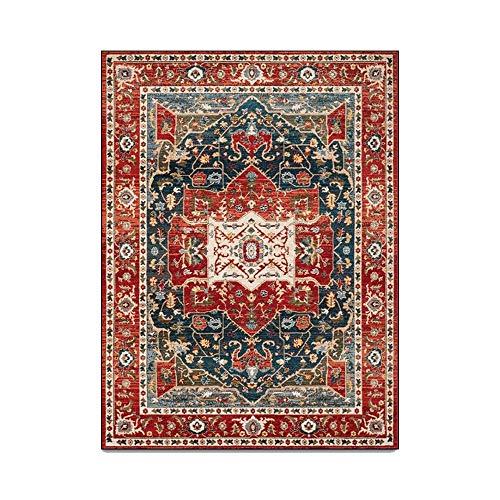 Estilo persa retro rojo negro patrón geométrico estilo étnico sala de estar dormitorio alfombra de noche alfombra