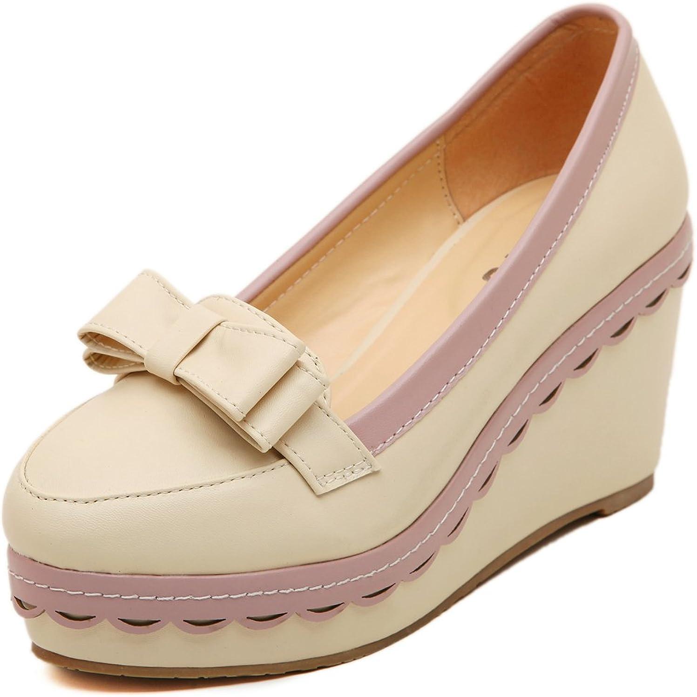 Adelina Women's Bright Candy color Wedge Heel Platform Pumps shoes 3-Apricot 39 EU   7.5-8 US