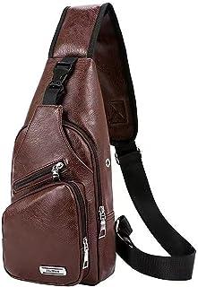 PU Leather Shoulder Bag, Crossbody Bag Sling Bag Backpack with USB Charging Port for Travel, Hiking, Cycling