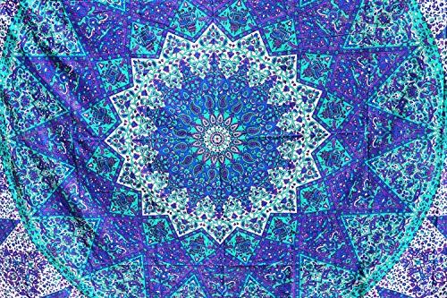 Future Handmade Wandteppich, Motiv: Mandala, Galaxie, Stern, Sonne, Mond, Batik, Wandbehang, indischer, psychedelischer Hippie-Stil, Strandtuch, Überwurf, Bohemian-Stil, QUEEN DESIGN 3