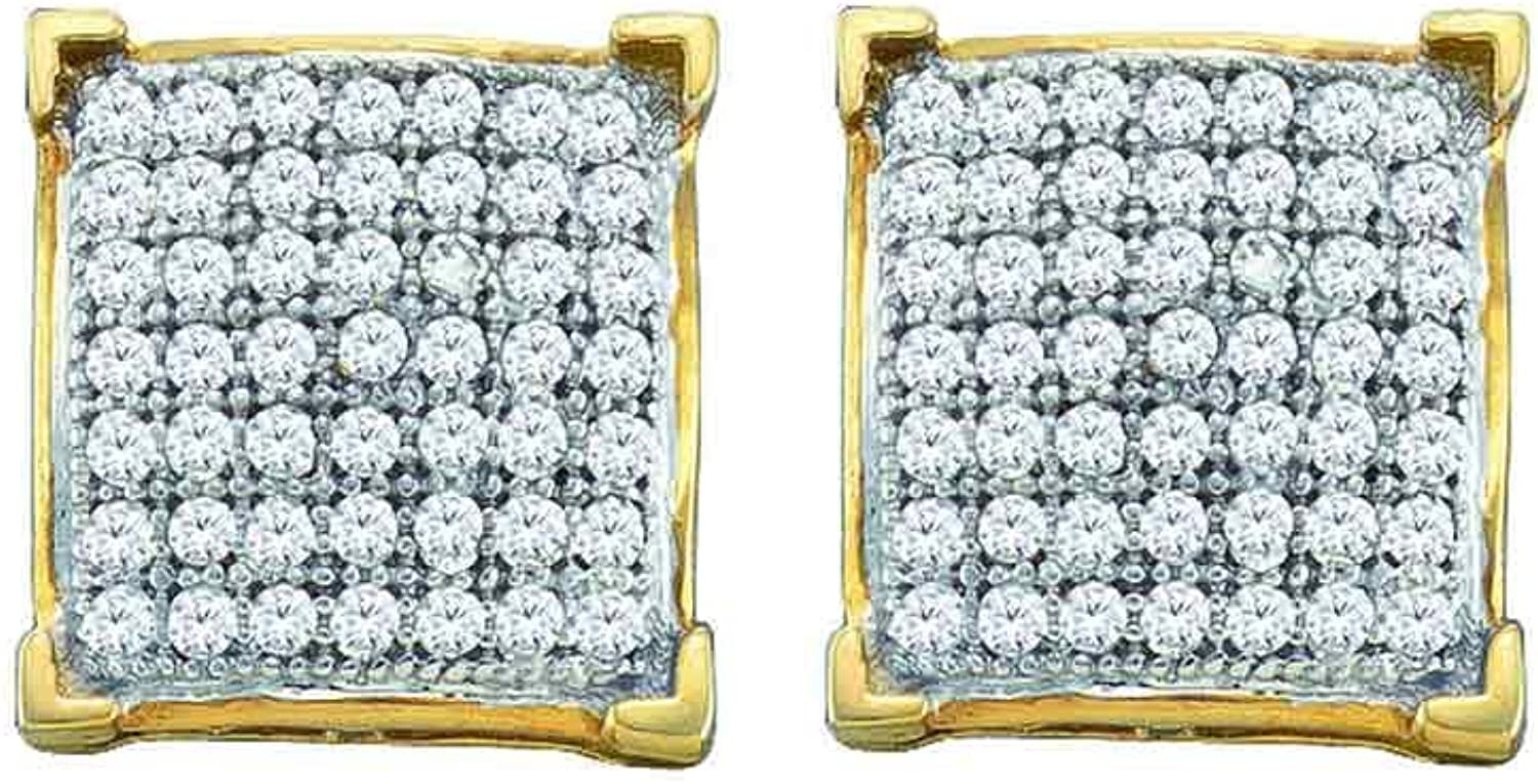 10kt Yellow gold Womens Round Paveset Diamond Square Cluster Earrings 1 10 Cttw