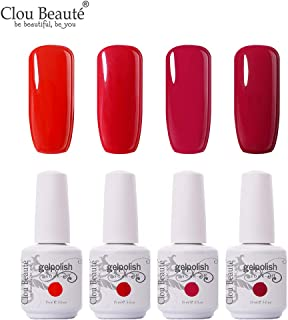 Clou Beaute Soak Off UV Led Nail Gel Polish Kit Varnish Nail Art Manicure Salon Collection Set of 4 Colors 15ml CB-Set19