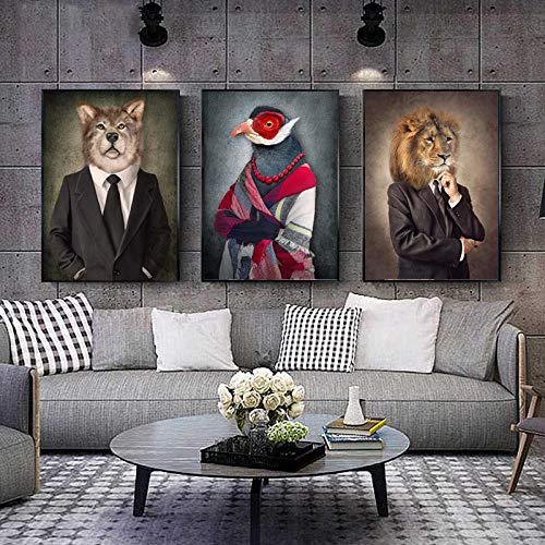 CNHNWJ canvas schilderen dieren in retro stijl muurkunst leeuw dragen een pak poster wolf olifant print afbeelding voor de woonkamer decor (40x60cmx3 / geen lijst)