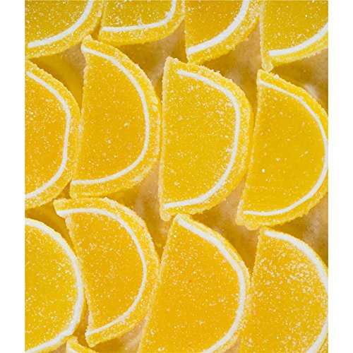 FirstChoiceCandy Yellow Lemon Fruit Jell Slices Gummy 1 LB - 16 oz In a Resealable Gift Bag
