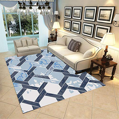 Alfombra recibidor alfombras alargadas Las alfombras de la habitación de la habitación de la habitación Azul Son cómodas y Resistentes al Desgaste. Alfombra para habitacion 80X160CM 2ft 7.5' X5ft 3'