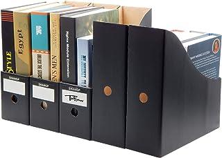 TOSSOW ファイルボックス a4 紙 ファイル立て ファイルスタンド 収納ボックス ボックス ファイル 組み立て式 5個組 ホーム オフィス用品 黒