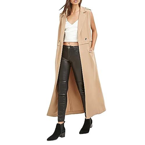 7e608040980823 HaoDuoYi Womens Classic Slim Lapel Sleeveless Longline Trench Coat(XL
