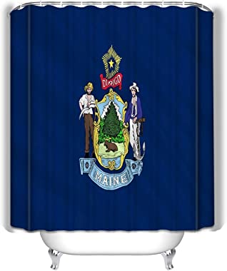"""State Flag Maine National Augusta United States Leisure Traveler Print Fabric Shower Curtain 60""""x72"""""""