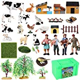 YEIBOBO Farm Figurines Farmer and Animals Figures Playsets Toys for Kids (45pcs Deluxe Farm Playset)