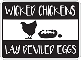 Dark Spark Decals Wicked Chickens Lay Deviled Eggs Novelty Sign -12