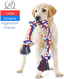 NEOROD Dog Rope Toys for Aggressive Chewers Tough Cotton Rope Interactive Chew Toys for Medium Large Breed Dogs Tug of War 3 Feet 5 Knots Indestructible Durable Giant Rope Toy