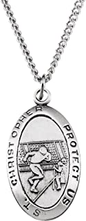 Jewels By Lux 925 Sterling Silver 24.5x15.5mm St. Christopher Football Medal Necklace
