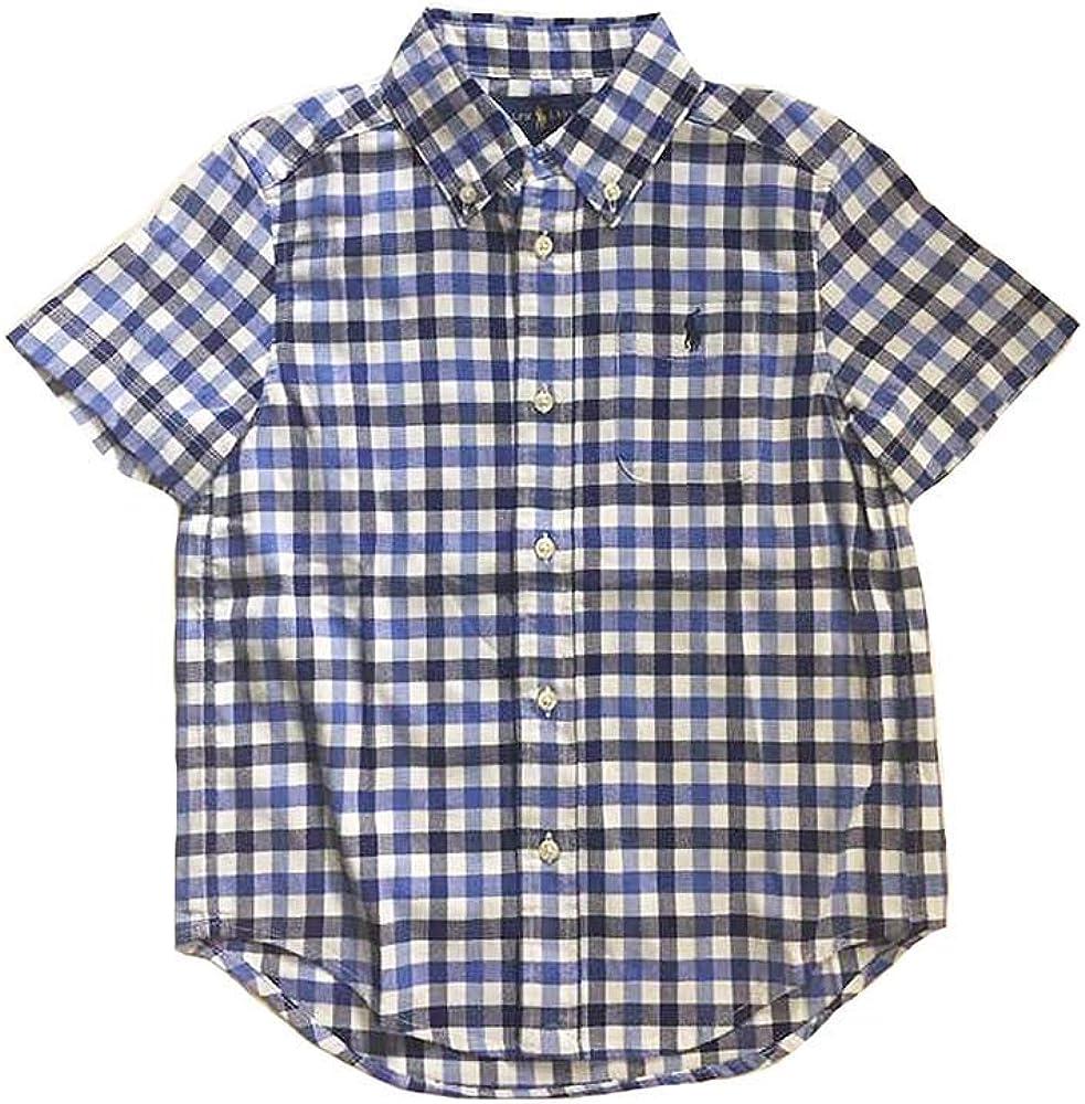 Polo Ralph Lauren Boy's Check Pattern Short Sleeve Shirts, Blue Multi