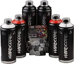 sprühdosen Set MTN Hardcore Black Red White brillante 6x 400ml + Cabezales de recambio para pulverizador