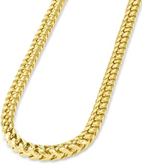 Solid 14k Yellow Gold 4.9mm D/C Franco Chain Necklace with Lobster Claw Clasp
