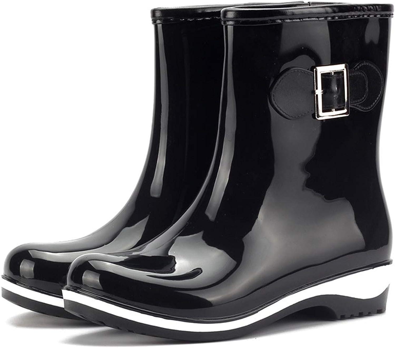 Fashion New rain Boots Women's Warm Tube Anti-Skiing rain Boots(-