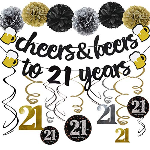 21th Birthday Party Decorations Kit Cheers & Beers to 21 Years Banner 6 Pom Poms 12-Pack Sparkling 60 Hanging Swirl for 21th Anniversary Decorations 21 Years Old Party Supplies