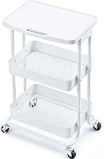 TOOLF 3-Tier Metal Rolling Storage Cart with Practical Tabletop, 3-Tier Metal Serving Rolling Cart with Contral Handle,Trolley Organizer with Locking Wheels for Library Office Classroom Home Dedroom