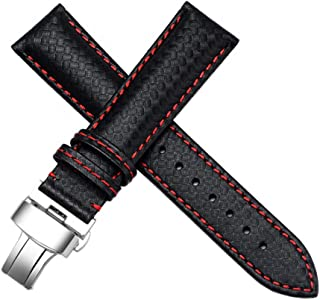21mm Carbon Fiber Leather Black - Red Stitching Watch Strap Band