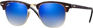 Ray-Ban Occhiali da sole Clubmaster in Havana rosso lucido blu Flash gradiente RB3016 990/7Q 51