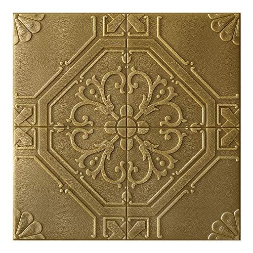 XZPQSSW Autocollant 3D Stickers muraux décoratifs Chambre Chevet Salon Toom TV Fond Mur Papier Peint Plafond étanche Tapisserie (Couleur : Bronze Gold, Dimensions : 70cm x 70cm)