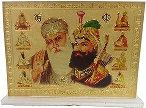 Galaxy Karmaa Golden Color Ten Guru Picture with Khanda
