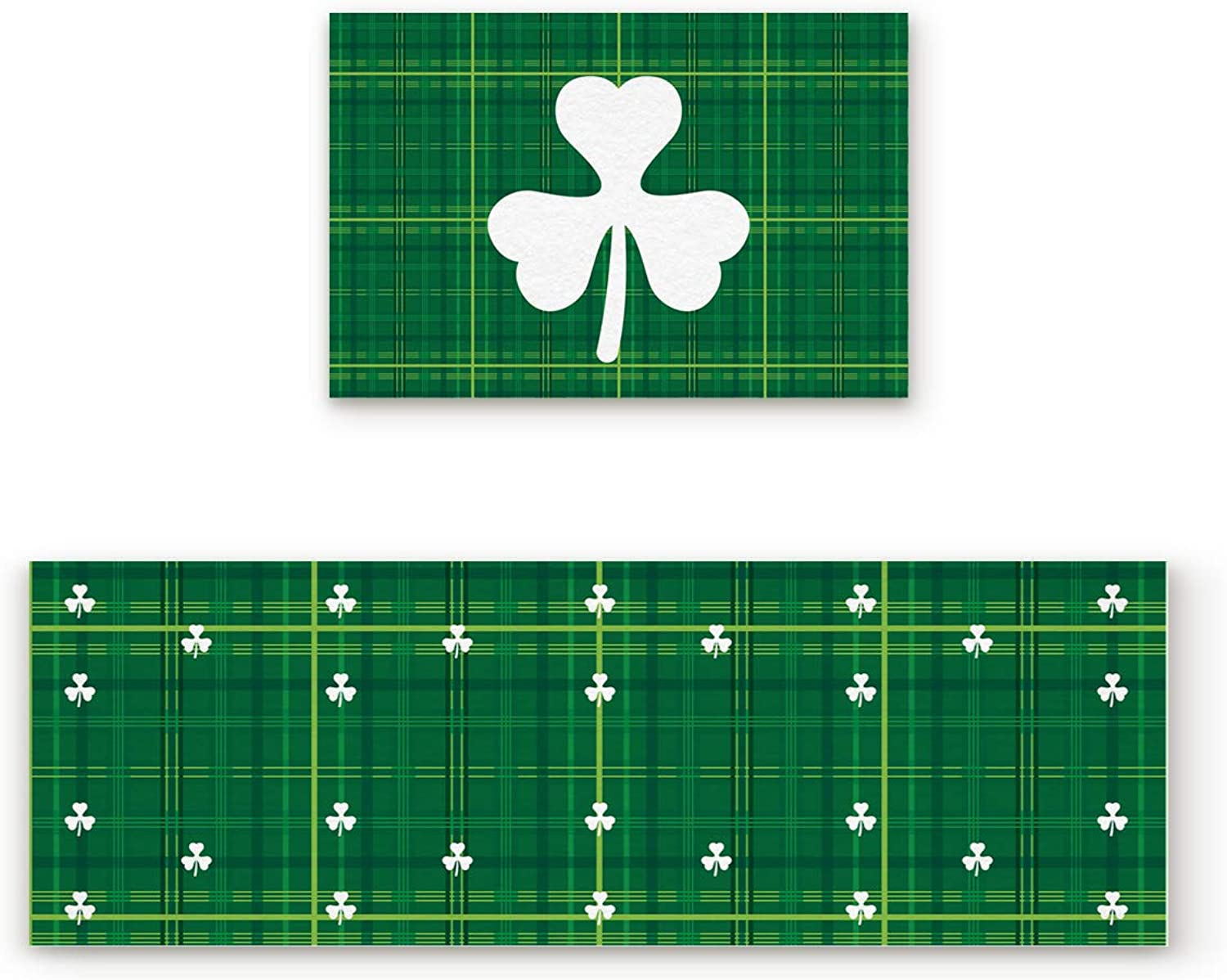 Aomike 2 Piece Non-Slip Kitchen Mat Rubber Backing Doormat Green Plaid and White Shamrock Pattern Runner Rug Set, Hallway Living Room Balcony Bathroom Carpet Sets (19.7  x 31.5 +19.7  x 63 )