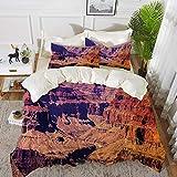 Juego de cama, microfibra,Gran Cañón en Arizona con elevaciones de base sublime paisaje tribal de América del Norte, naranja verde gr,1 juego de funda nórdica 220 x 2402 fundas de almohada 50x80cm