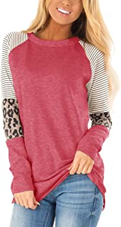 Floral Find Women's Long Sleeve Leopard Color Block Tunic...