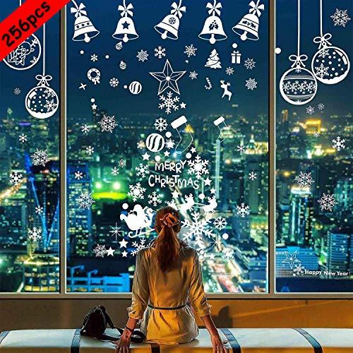 BESTZY Pegatinas de Navidad 256PCS Vinilo Navidad Copos de Nieve Adhesivos Navidad Pegatinas de Ventana de Navidad Adornos Artículos de Fiesta Decoracion Navideña Regalos (8 Hojas)
