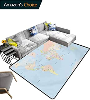Map Gingham Area Rug Sets, Old Fashioned Classical Political World Map Administration Theme Borders Countries Durable Carpet Area Rug - Living Dinning Room Bedroom Rugs and Carpets, (2'x 6')