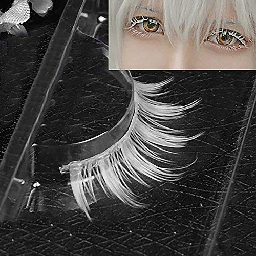 XdiseD9Xsmao Cosplay Créatif Maquillage Outil Cosmétique Naturel Durable à La Recherche De Racine Claire Blanc Longue épaisseur Croix Faux Cils