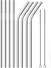 Stainless Steel Drinking Straws, Reusable Metal Drinking Straws Set of 8 with 2 Free Cleaning Brush Included (8.5 Inch Silver)
