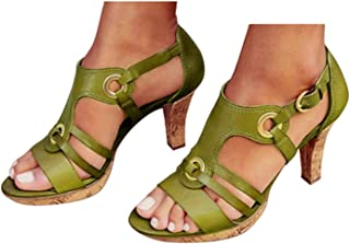 High Heel Sandals Womens Summer Elegant Buckle Strap Ankle Peep Toe High Heel Sandals Shoes by Gyouanime